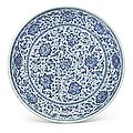 A blue and white ming-style 'floral' dish, qing dynasty, 18th century