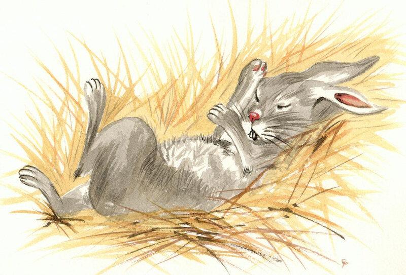 """""""Lapin qui dort"""" (Illustration à l'acrylique)"""