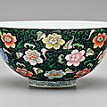 An unusual famille rose <b>black</b>-<b>ground</b> bowl, porcelain: Yongzheng mark and period, enamels possibly later added