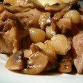 Râble de lièvre aux oignons grelots et au champignons