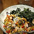 Elle met des épices partout, poêlee de quinoa-boulgour aux epices, poivron, oignon, olive noire, fruits secs & tombee d'epinards