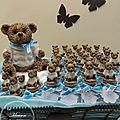 Contenants à dragées baptême sujets enfants : Une grande famille d'ours
