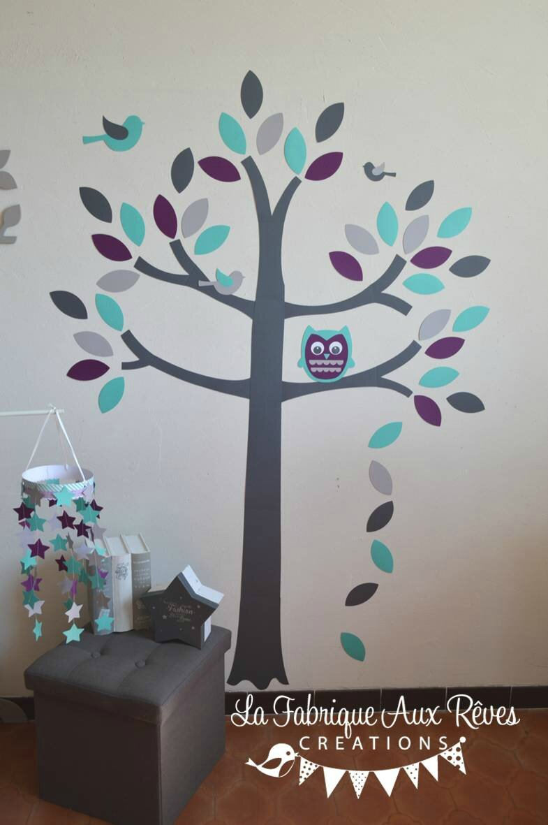 stickers arbre gris violet turquoise cara be aqua hibou chouette oiseaux feuilles d coration. Black Bedroom Furniture Sets. Home Design Ideas