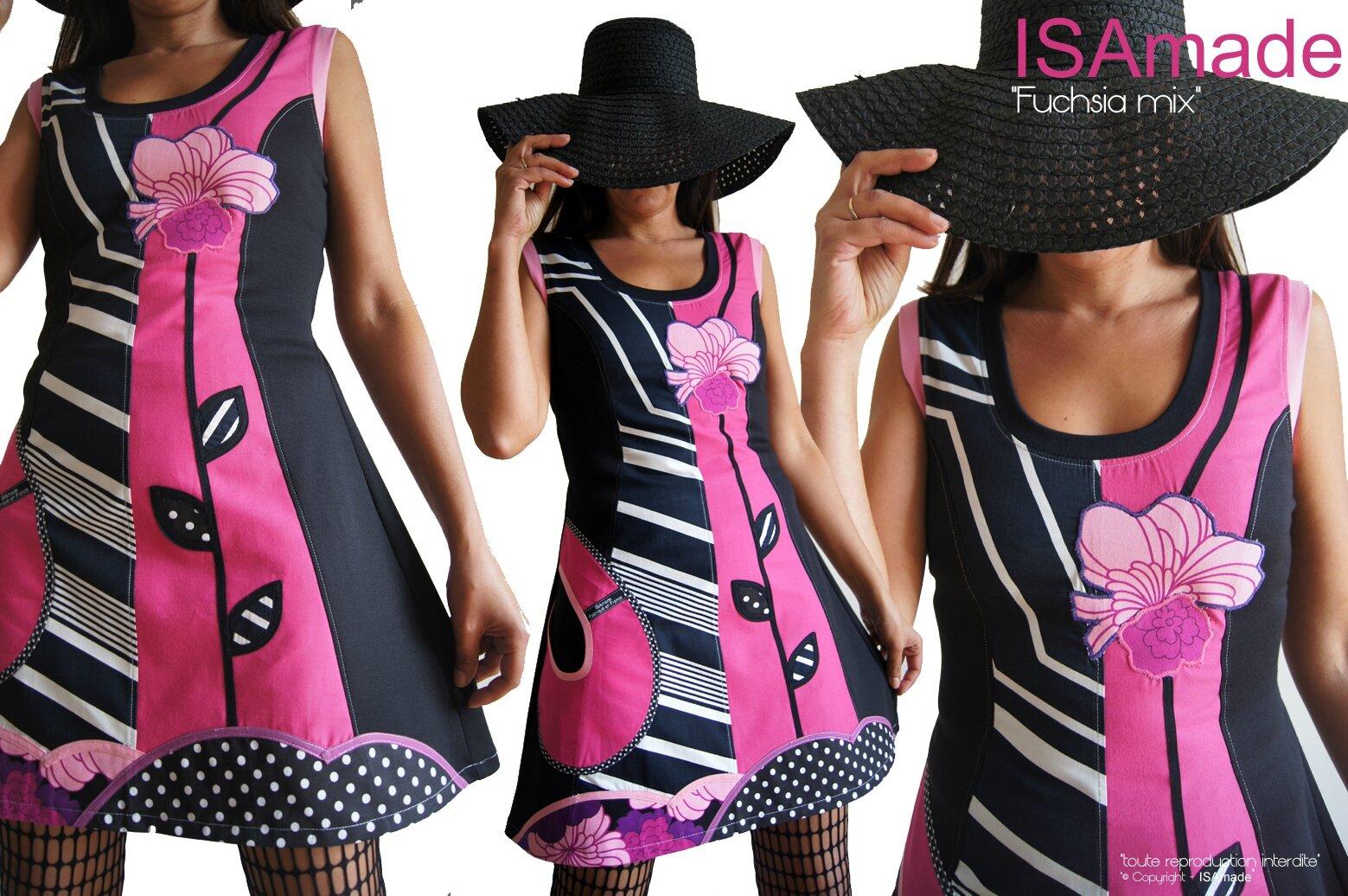 Robe rose et noir Felurie à rayures asymétriques, Pois et Fleur !