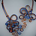 Collier bleu et or