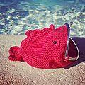 Porte-monnaie poisson rouge au crochet