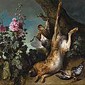 Jean-Baptiste Oudry (Paris 1686 - 1755 Beauvais), Nature morte au perdreau, lièvre et rose trémière