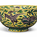 A yellow-ground enameled bowl, China, Kangxi period (1662-1722)