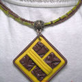 Collier FIMO chocolat tournesol 3 rangs rocaille