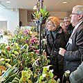 Evelyne dhéliat à l'exposition d'orchidées à chantilly. arrêt à un stand. vendredi 27/11/15.