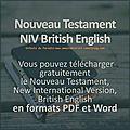 Nouveau testament niv british english, pdf et word