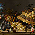 Balthasar van der ast, still life of flowers, fruit, shells, and insects, c. 1629