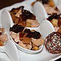 Cuilleres aperitives pommes du limousin, foie gras, pain d'epices, confit d'oignons