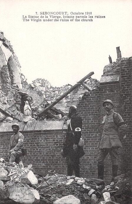 Seboncourt, ruines, octobre 1918
