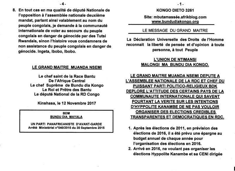 NE PAS VOULOIR ORGANISER DES ELECTIONS TRANSPARENTES ET DEMOCRATIQUES EN RDC a