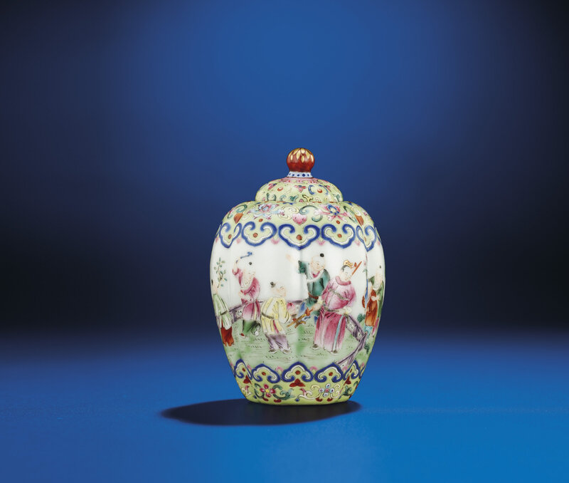 A fine smallfamille roselobed jar and cover, Jiaqing iron-red six-character seal mark and of the period (1796-1820)