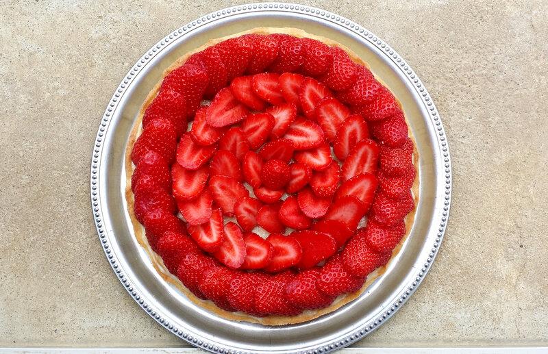 Tarte aux fraises vue de haut