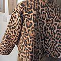 Veste VICTORINE en toile de coton imprimé léopard - Doublure de satin noire (17)