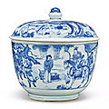 A fine <b>blue</b> <b>white</b> 'Story of the <b>White</b> Hare' bowl and cover, Qing Dynasty, Kangxi Period (1662-1722)