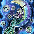 La fée qui parlait aux étoiles gouache Ghislaine Letourneur - The fairy who spoke to stars