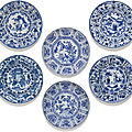 A set of six blue and white 'Kraak' dishes, Ming dynasty, Wanli period (1573-<b>1619</b>)