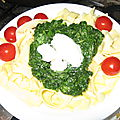 Tagliatelle, épinards, tomates cerises et ricotta