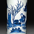 A small blue and white brush pot, Transitional period, circa <b>1635</b>-1640