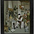 A reverse-painted glass <b>picture</b> by Nikolaus Michael Spengler, signed and dated 1764