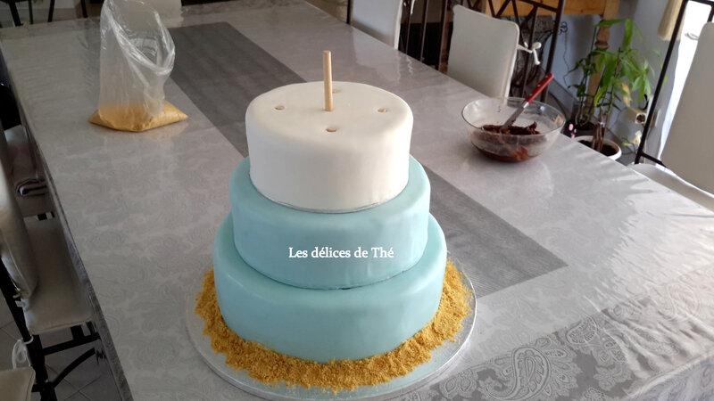 Wedding cake génoise ganaches 3 chocolats Théme Coquillages Mariage Domi Eric 28 04 18 (48)