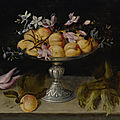 Fede galizia, still life of peaches, jasmine, and a spray of hyacinth in a metal fruit stand, with tulips and hazelnuts...