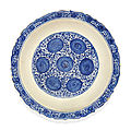 A blue and white pottery dish, probably tabriz, iran, circa 16th century