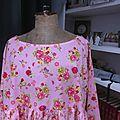 Blouse CERISE en coton rose imprimé fleurs et oiseaux rose-vert-jaune (1)
