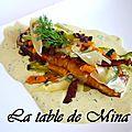 Saumon mariné au sirop d'érable, legumes carottes et courgettes, sauce moutarde