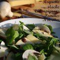 Salade automnale de roquette et mâche, aux champignons, pommes, éclats de noisettes et comté
