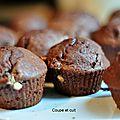 Muffins au cacao et aux pépites de chocolat blanc