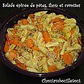 Salade épicée de pâtes, thon et carottes