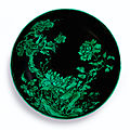 A fine and rare <b>black</b>-<b>ground</b> and green enamelled dish, Mark and period of Yongzheng (1723-1735)
