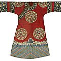 A ladies' informal red-ground kesi <b>silk</b> <b>robe</b>, changfu, Late Qing dynasty