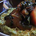 Polenta à l'ail des ours, navets marinés sauce shoyu.