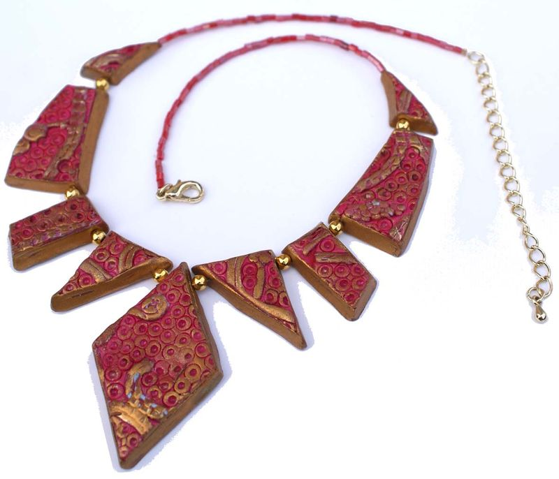 090 Collier Baroque Rouge & Or