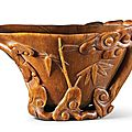 A rhinoceros horn 'Chilong and <b>Lingzhi</b>' libation cup, 17th century