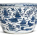 A large blue and white 'Mandarin <b>Duck</b>' fish bowl, Wanli mark and period (1573-1619)