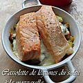 Cassolette de légumes du soleil a la mozzarella et saumon