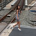 Crossing railroard girl