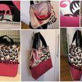 sac rose et noir à pompons