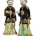 A Rare Pair of Chinese Export 'Nodding Head' Figures, Qing Dynasty, <b>Qianlong</b> <b>Period</b> (<b>1736</b>-<b>1795</b>)