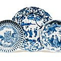 Two blue and white dishes, ming dynasty, wanli period (1573-1620)
