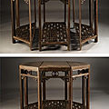 A rare jichimu <b>octagonal</b> <b>three</b>-<b>part</b> <b>composite</b> <b>table</b>, yueyazhuo, Qing dynasty, 18th Century