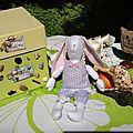 Voici ma lapinette qui me sert de mannequin pour faire des petits habits pour mes petites princesses,merci mideco!!!
