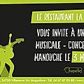 Restaurant la chapelle : tapas et concert de jazz manouche avec un duo epoustouflant